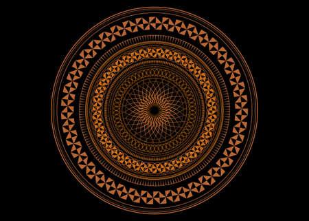 Mandala Sacred Geometry symbol elements, ocher line art. Oriental pattern, vector illustration. Islam, Arabic, Indian, turkish, pakistan, chinese, ottoman motifs. Isolated on black background Ilustração