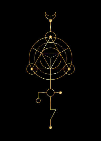 Sacred geometry abstract mystic signs. Merkaba thin line geometric triangle shape, esoteric or spiritual symbols. isolated on black background. Gold linear shapes. For you design: tattoo, print, card