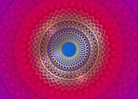 Gold Mandala Vintage decorative elements, golden line art. Luxury Oriental pattern, vector illustration. Islam, Arabic, Indian, turkish, pakistan, chinese, ottoman motifs. Isolated colorful background Ilustração