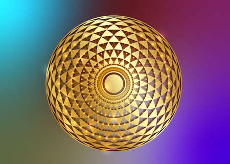 Torus Yantra, Gold Hypnotic Eye sacred geometry basic element. Golden Logo Circular mathematical ornament. Circular pattern from the crossed circles, vector isolated on colorful background