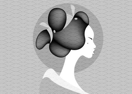 Vintage portrait young Japanese woman ancient hairstyle. Geisha, maiko, princess. Traditional Asian Girl style. Print, poster, t-shirt, card. Vector old Japanese pattern monochrome background Ilustração