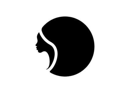 logo round design African american woman face profile. Women profile silhouette on the white background. Logo design template Vector illustration isolated Ilustração