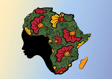 Concept of African woman, face profile silhouette with turban in the shape of a map of Africa. Colorful Afro print fabric, tribal logo design template Vector illustration isolated on blue background