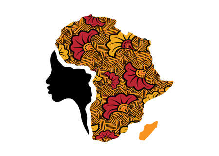 Concept of African woman, face profile silhouette with turban in the shape of a map of Africa. Colorful Afro print fabric, tribal logo design template Vector illustration isolated on white background