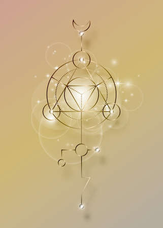 Sacred geometry abstract mystic signs. Merkaba, metallic line geometric triangle shape, esoteric spiritual symbols. isolated on vintage background. Bronze linear shapes. For you design, print card
