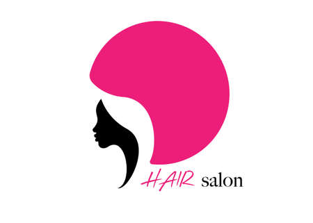 logo round design Hair Salon Beauty woman face profile and hair dryer hood. Colorful icon women profile silhouette on the white background. Logo design template Vector illustration isolated