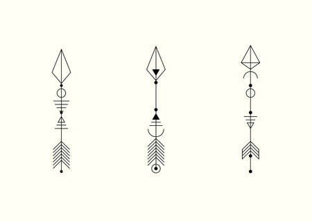 Set of graphic arrows for tattoo design. Vector minimalism, sacred geometry, hipster design elements. vector art, clipart. Abstract Mystic Geometric symbols isolated on white background
