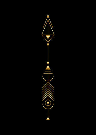 Gold arrow luxury design. Vector minimalism, sacred geometry totem, hipster design elements. vector art, clipart. Golden Abstract Mystic Geometric symbols isolated on black background
