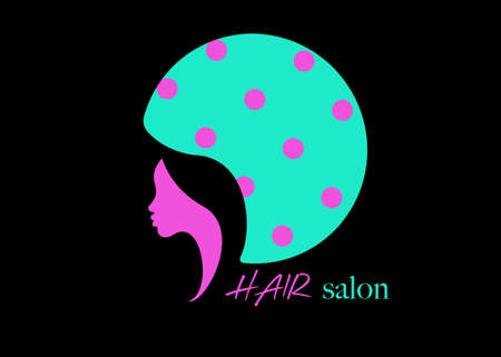logo fashion design Hair Salon Beauty woman face profile and hair dryer hood. Colorful icon women profile silhouette on the black background. Logo design template Vector illustration isolated
