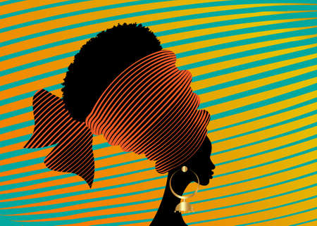 portrait beautiful African woman in traditional turban handmade tribal motif, Kente head wrap African with ethnic earrings, black women Afro curly hair, vector silhouette isolated on orange background