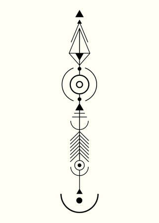 graphic arrow for tattoo design. Vector minimalist Totem, sacred geometry, hipster design elements. vector art, clipart. Abstract Mystic Geometric symbols isolated on old white background