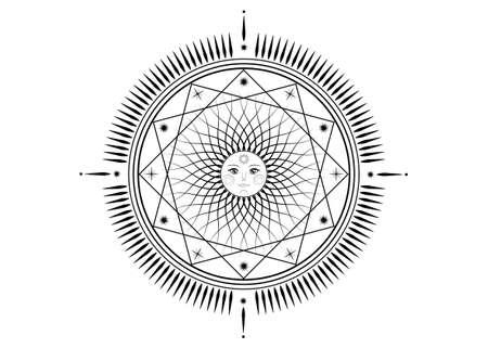 Sun mystic icon Sacred Geometry sign, radial rays symbol, concept of sunlight, logo Mandala tattoo of black line, Masonic symbology, vector isolated on white background Ilustração