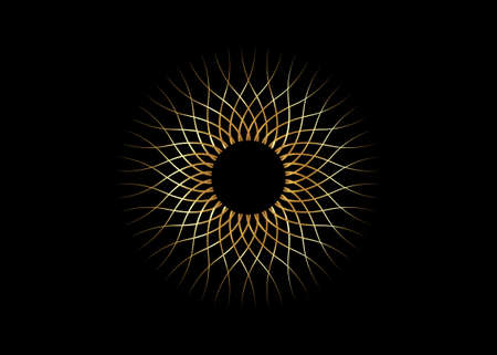 Golden Sun logo icon concept of sunburst sign, radial rays, i ntertwining of wavy lines, filled golden symbol, concept of sunlight, tattoo sign vector isolated on black background