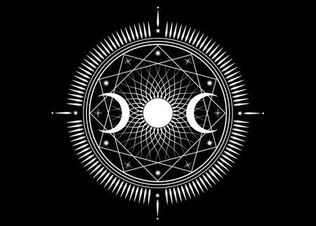 Triple moon mystic icon Sacred Geometry Wicca sign, radial rays symbol, concept of moonlight, logo Mandala Goddess tattoo of white line, Masonic symbology, vector isolated on black background