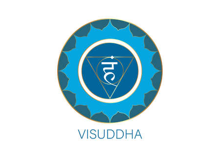 fifth Throat chakra visuddha with the Hindu Sanskrit seed mantra Vam. Blue is a flat design style symbol for meditation, yoga. Round Logo template Vector isolated on white background