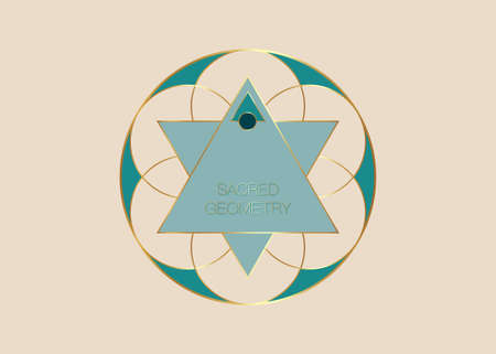 Sacred Geometry, green Flower of Life logo template. Colorful Symbol of Harmony and Balance. Gold Sign of purity. Geometric triangles logo round design vector isolated on old vintage beige background