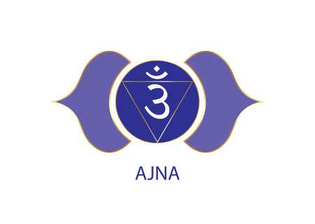 Third eye chakra Ajna logo template. The sixth frontal chakra, sacral sign meditation, yoga blue and purple round mandala icon vector isolated on white background 向量圖像