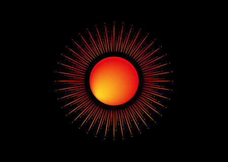 Sun icon concept of sunburst sign, radial rays, filled orange symbol, concept of solar eclipse, vector isolated on black background 向量圖像