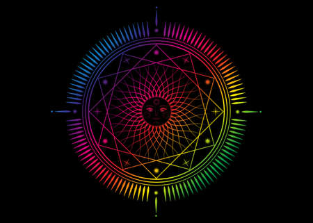 Sun mystic icon Sacred Geometry sign, radial rays symbol, concept of sunlight, logo Mandala psychedelic color, Masonic symbology, colorful vector isolated on black background