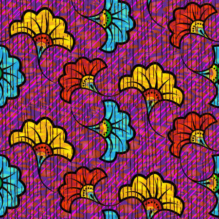 African Wax Print fabric, Ethnic handmade ornament seamless design, tribal pattern motifs floral elements. Vector texture, afro colorful textile Ankara fashion style. Pareo wrap dress wedding flowers