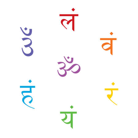 The seven bija mantras with chakras set Sanskrit colorful letterig isolated on white background. Linear character illustration of Hinduism and Buddhism. Design associated with yoga and India