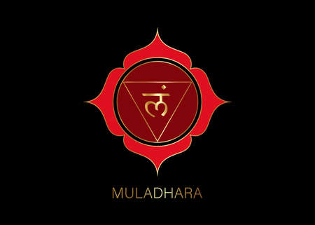 Muladhara chakra template. First root chakra symbol. Red and Gold sacral sign meditation, yoga mandala icon vector isolated on black background