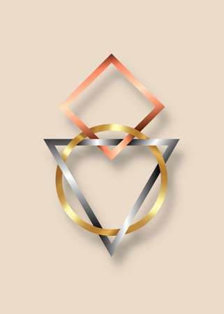 Sacred Geometry, Metallic Geometric triangle, Circle and Square logo design. Gold, Bronze and Silver Symbol of Harmony and Balance. Vector isolated on old vintage beige background