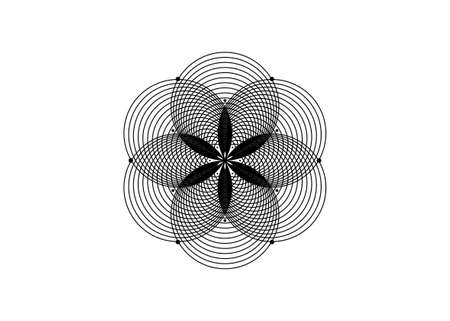 Seed of life symbol Sacred Geometry. Round Logo icon Geometric mystic mandala of alchemy esoteric Flower of Life. Interlaced black circles vector divine meditative amulet isolated on white background
