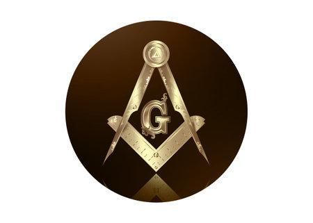 Gold freemasonry emblem - the masonic square and compass symbol. All seeing eye of god in sacred geometry triangle, masonry and illuminati symbol, round logo design element. vector isolated on white