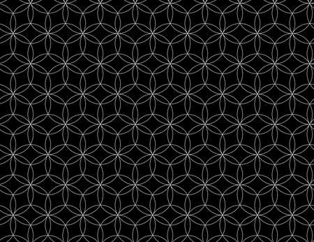 Seamless Seed of life symbol background, Sacred Geometry. Geometric mystic mandala of alchemy esoteric Flower of Life in line art. Vector black and white textile design, abstract texture graphic print 向量圖像