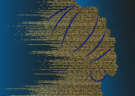 Gold glitter luxury portrait beautiful African woman background in traditional turban, Kente African head wrap, Traditional dashiki printing, black women golden silhouette vector isolated on blue