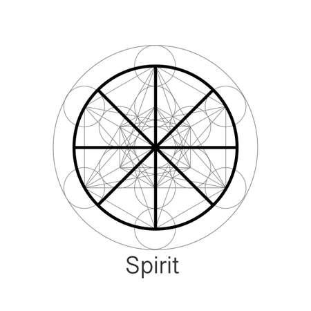 Spirit symbol wicca alchemy icon, Sacred Geometry, Magic logo design of the spiritual sign. Vector mandala isolated on white background 向量圖像