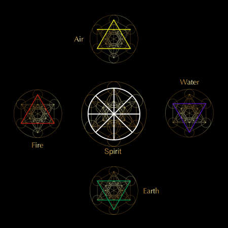 four elements icons and Magic Spirit symbol, Gold round symbols set template. Air, fire, water, earth symbol. Pictograph Alchemy signs isolated on black background. Colorful vector decorative elements