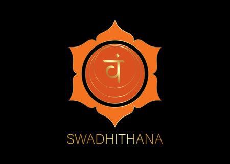 Second Swadhisthana chakra with the Hindu Sanskrit seed mantra Vam. Orange and Gold flat design style symbol for meditation, yoga. Logo template Vector isolated on black background