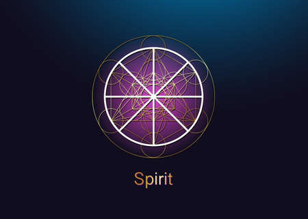 Spirit symbol wicca alchemy icon, Golden Sacred Geometry, Magic logo design of the spiritual sign. Vector gold mandala isolated on blue and purple background 向量圖像
