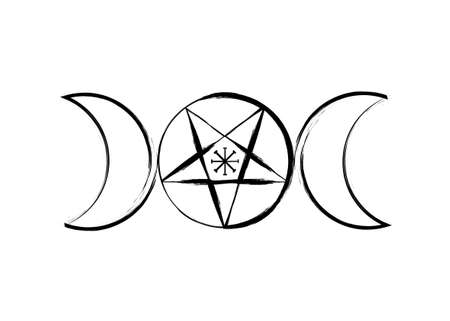 Triple Moon Goddess Wicca Pentacle symbol, pagan witchcraft icon in brush stroke style. Vector isolated on white background 向量圖像