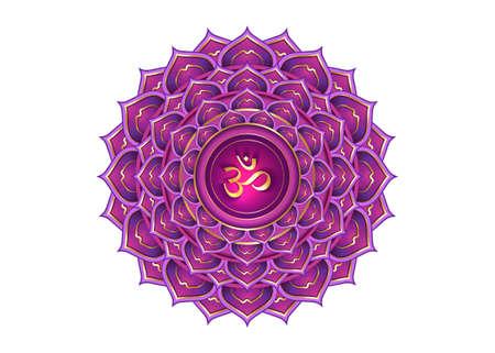 seventh chakra Sahasrara logo template. Crown chakra symbol, Purple lotus sacral sign meditation, yoga gold round mandala icon. Gold symbol Om in the center, vector isolated on white background
