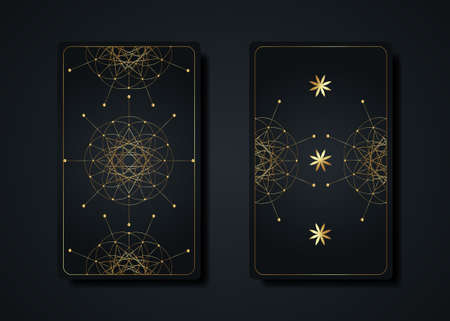 Set magical tarot cards, gold magic occult sacred geometry sign, esoteric boho spiritual symbols, Flower of Life. Luxury Seed of life sacred mandala. Vector collection isolated on black background 向量圖像