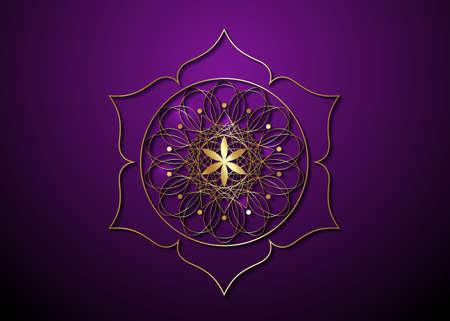Gold Seed of life symbol Sacred Geometry. Logo icon Geometric mystic mandala of alchemy esoteric Flower of Life. Vector golden luxury divine meditative amulet isolated on purple background 向量圖像