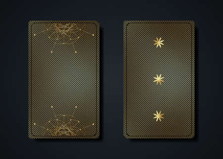 Set magical tarot cards, gold magic occult sacred geometry sign, esoteric boho spiritual symbols, Flower of Life. Luxury Seed of life sacred mandala. Vector collection golden luxury background 向量圖像