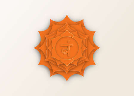 Second Swadhisthana chakra with the Hindu Sanskrit seed mantra Vam. Orange and Gold paper cut design style, lotus flower symbol for meditation, yoga. Vector Logo template isolated on white background