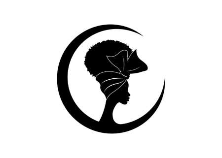 African American woman face profile wears bandana for curly hairstyles. Round Logo women silhouette in Turban and fashion curly afro hair style concept, vector isolated on the white background 向量圖像