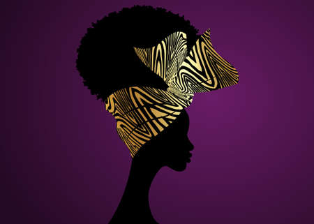 Portrait African woman wears bandana for curly hairstyles. Shenbolen Ankara Headwrap Women. Afro Traditional Headtie Scarf Turban in gold zebra fabric design texture. Vector isolated on purple