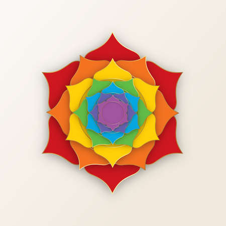 Sacred Lotus with the seven colors of the chakras for yoga, meditation and spa center. Set of mystical colorful petals, esoteric multicolors flower, vector isolated on white background 向量圖像