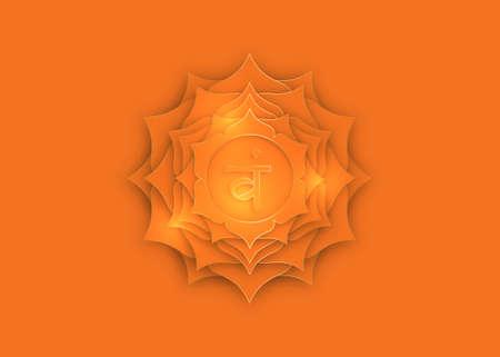 Second Swadhisthana chakra with the Hindu Sanskrit seed mantra Vam. Orange and Gold paper cut design style, lotus flower symbol for meditation, yoga. Vector Logo template isolated orange background