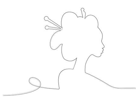 Silhouette of young Japanese girl an ancient hairstyle. Black Line art style design. Geisha, maiko, princess. Traditional Asian woman sketch drawing. Vector illustration isolated on white background