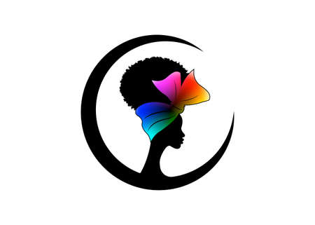 African American woman face profile wears colorful bandana for curly hairstyles. Round Logo women silhouette in Turban and fashion curly afro hair style concept, vector isolated on white background 向量圖像