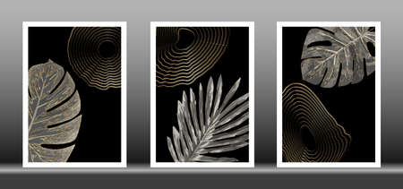 Luxury gold wallpaper. Set Black and golden background. Tropical leaves wall art design with shiny golden striped texture. Modern art mural wallpaper. Vector illustration 向量圖像