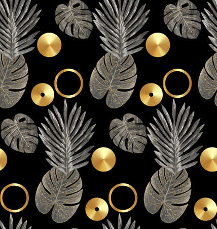 Luxury gold and black tropical plant seamless background vector. Floral pattern with golden tropical palm, monstera leaf, exotic plant, Jungle plants, shiny line art on black background