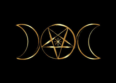 Triple Moon Goddess Wicca Pentacle symbol, golden pagan witchcraft icon in gold brush stroke style. Vector isolated on black background 向量圖像